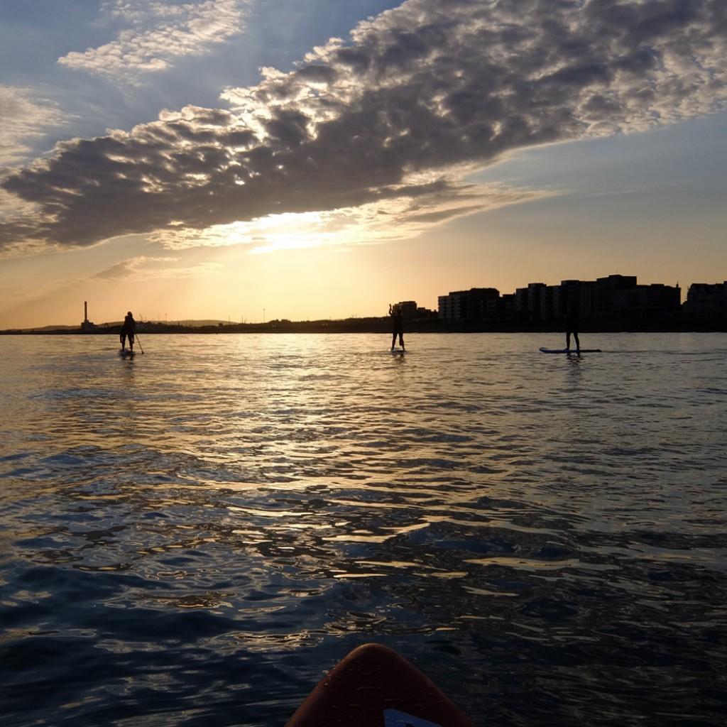 standup paddleboard sunset paddle