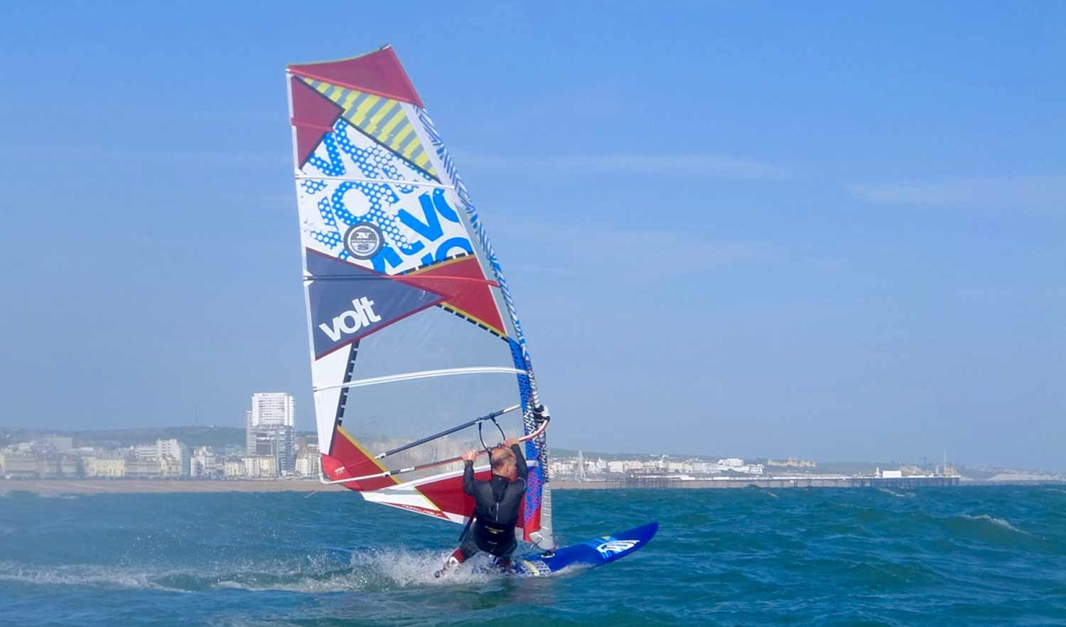 windsurfing on the sea brighton